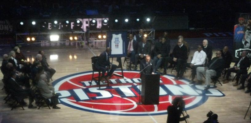 Detroit Pistons honor broadcaster George Blaha for 40 years